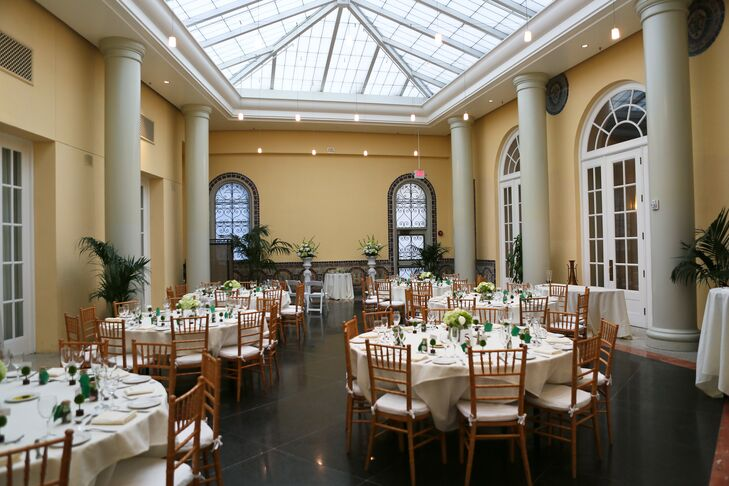 """We had the wedding at the Sainte Claire Hotel in downtown San Jose,"" says Jennifer. ""We chose it mainly for the atrium room, which fit our theme, number of guests, and budget. It is a beautiful venue, which has natural lighting and a unique backdrop."""