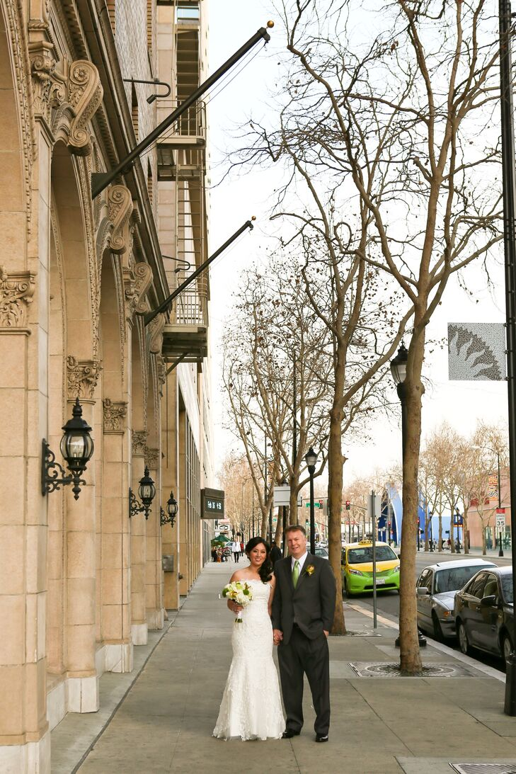 Bride and Groom Standing Outside Venue