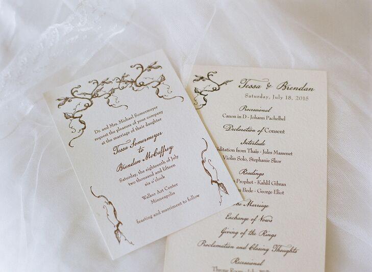 Epitome Papers created Tessa and Brendan's invitations. They used an ivory-colored paper with chocolate brown ink to give it an antique fairytale-book feel. Leafy branch motifs set the tone for the rustic theme.