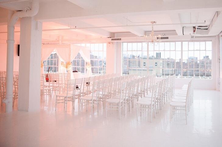 All White Indoor Wedding Ceremony Site: 9 Unique Loft Wedding Venues In NYC