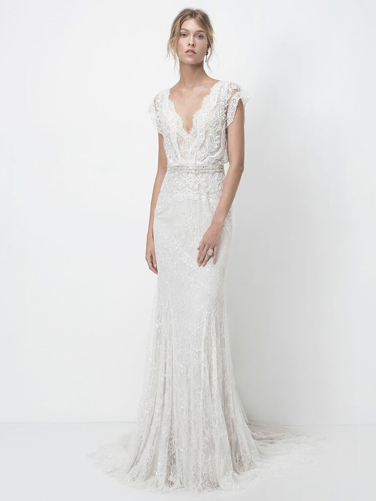 Lihi Hod Fall 2018 wedding dresses lace gown with scalloped v-neckline and detailed embroidery