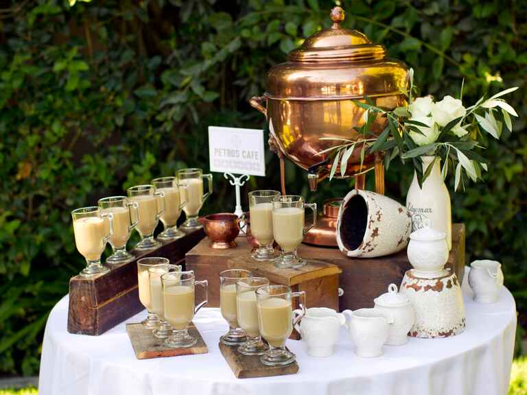 Alchemy Fine Events' wedding cappuccino drink stand catered by Petros