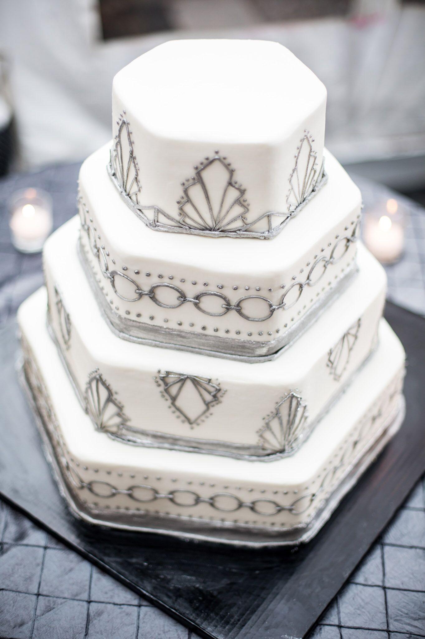 Art Deco Buttercream Wedding Cake : Silver, Hexagonal, Art Deco Wedding Cake