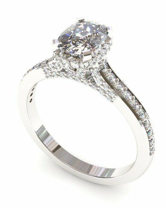 Enchanted Diamonds Cushion Pave with Side Halo CH6-4W-C Engagement Ring photo
