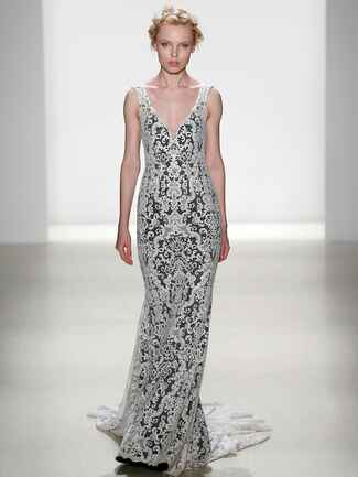 Kelly Faetanini Spring 2018 all over embroidered fit to flare wedding dress with black underlay