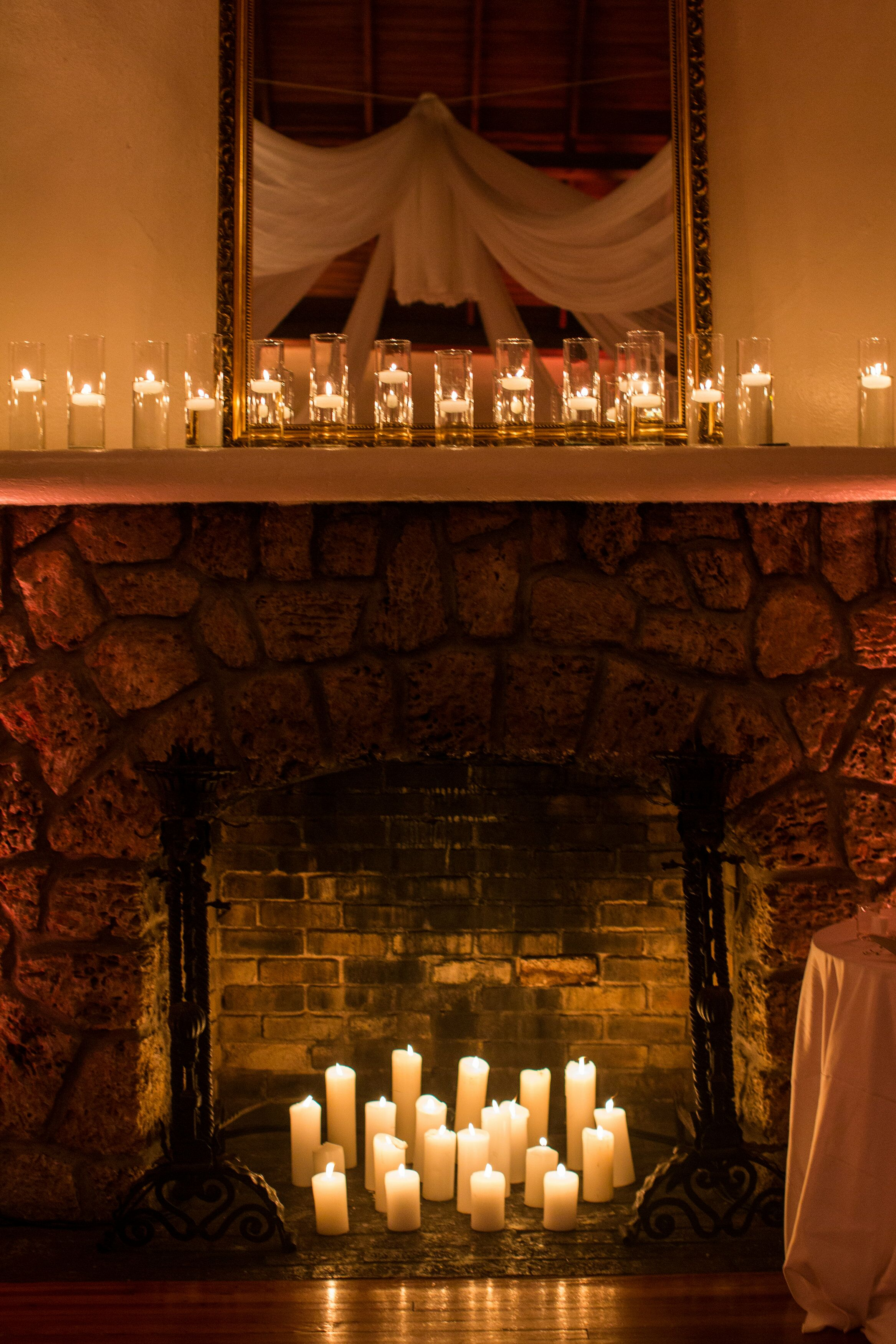 Elegant Fireplace Candle Display