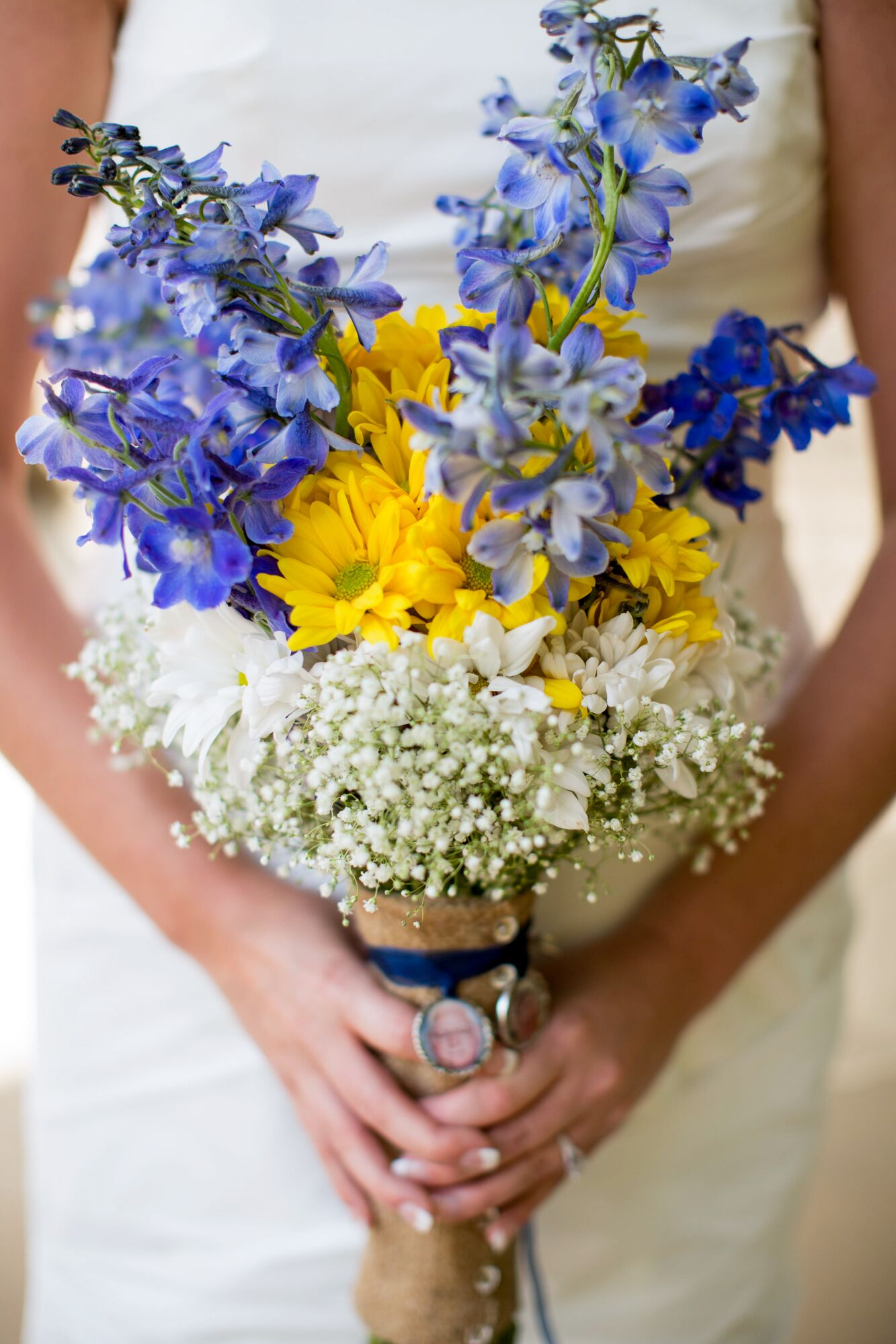 Baby Girl Room: Bouquet Of Delphiniums, Daisies And Baby's Breath