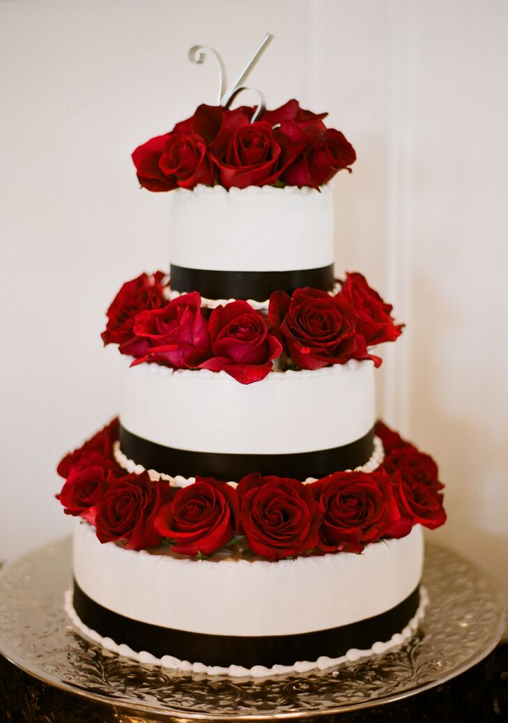 Black-and-White Wedding Cake With Red Roses