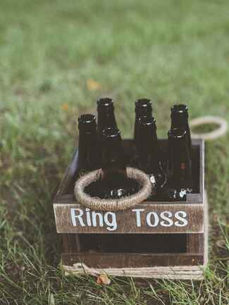 Fun ring toss idea for a wedding reception or happy hour