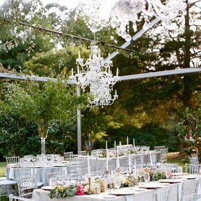 Clear Tented Reception With Chandeliers