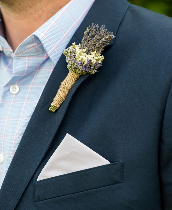 Lavender Boutonniere on Navy Bonobos Suit