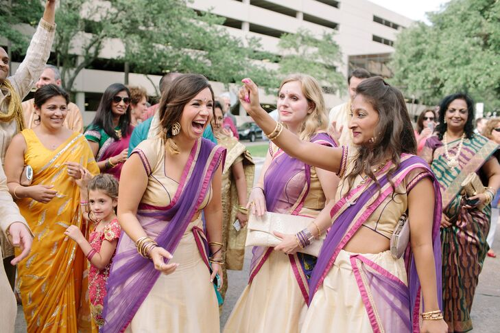 Purple, Fuchsia and Gold Indian Bridesmaids