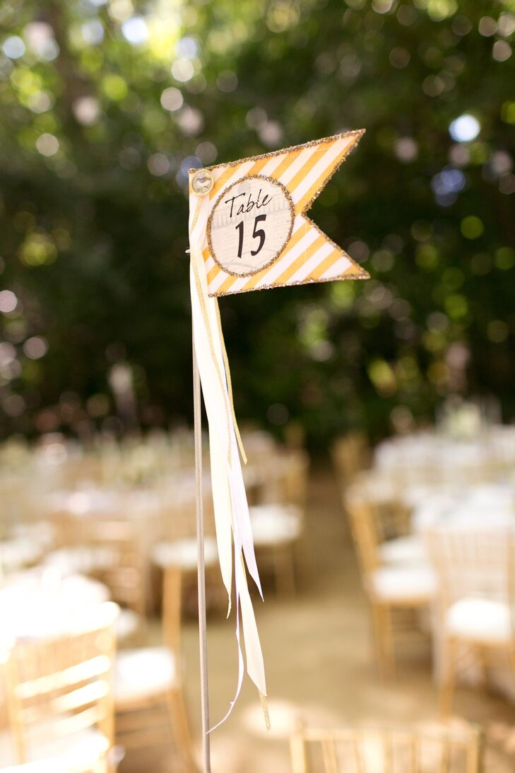 Yellow-Striped Table-Number Flag