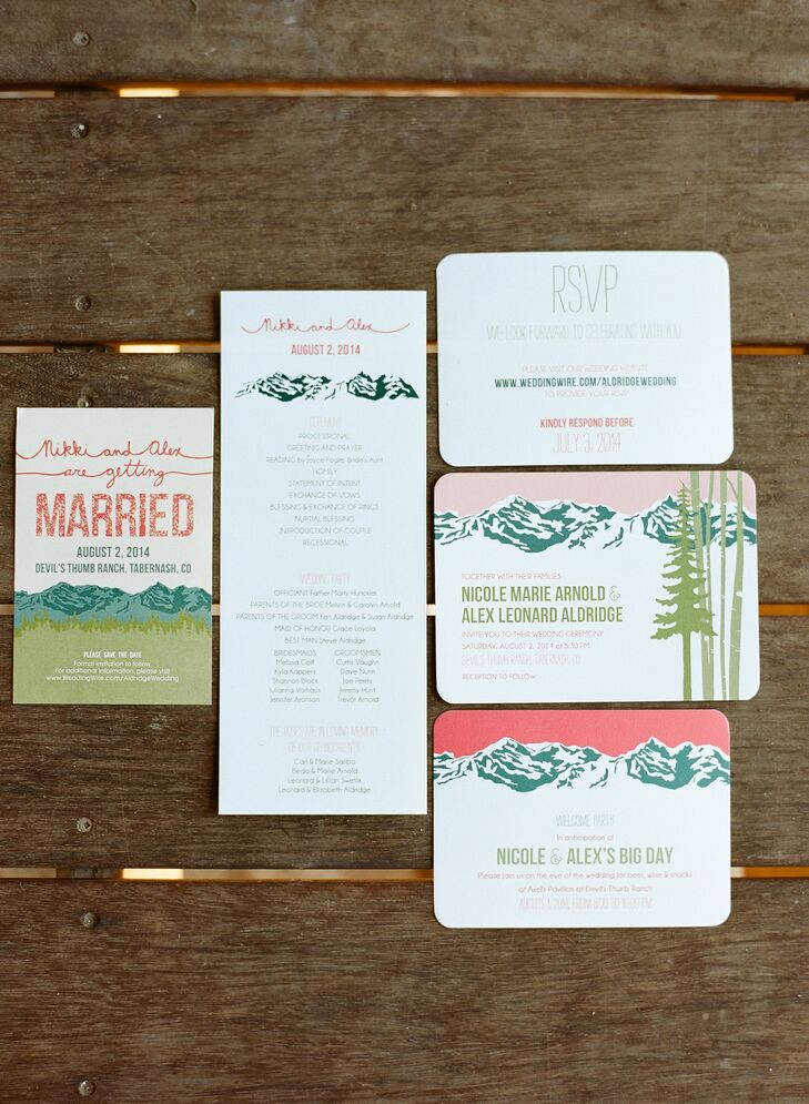 Nicole came across the graphic mountain range wedding invitations from Lexis Krieg's own wedding so much that she asked her to recreate them for her, with a few tweaks, of course!