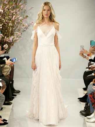 Theia Spring 2018 blush Chantilly lace boat neck ball gown with hand embroidered glass cherry blossoms at waist