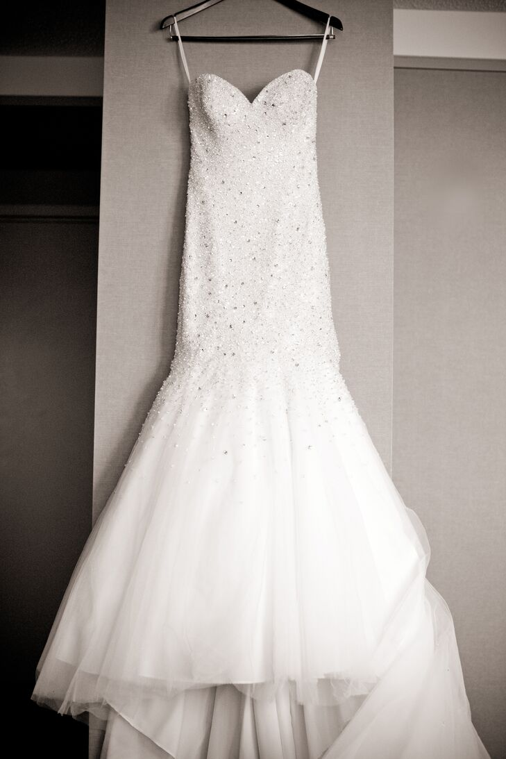 Mermaid Style Allure Wedding Dress with Beading and a Tulle Skirt