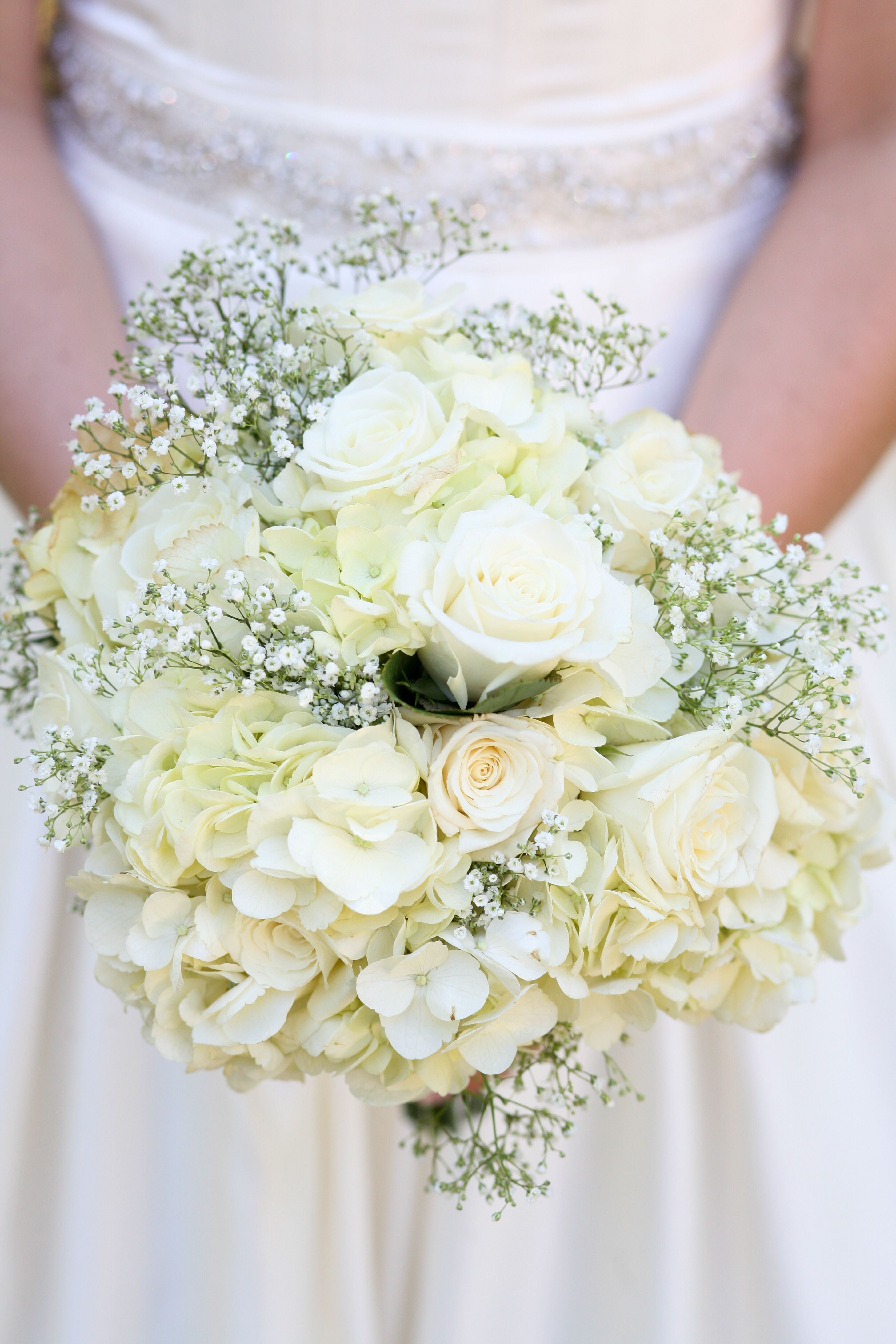 White Rose Hydrangea And Baby S Breath Bouquet