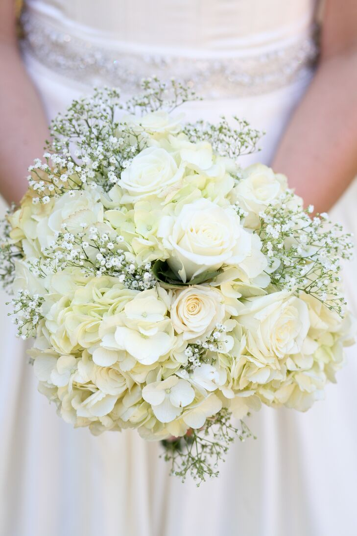 White Rose, Hydrangea and Baby\'s Breath Bouquet
