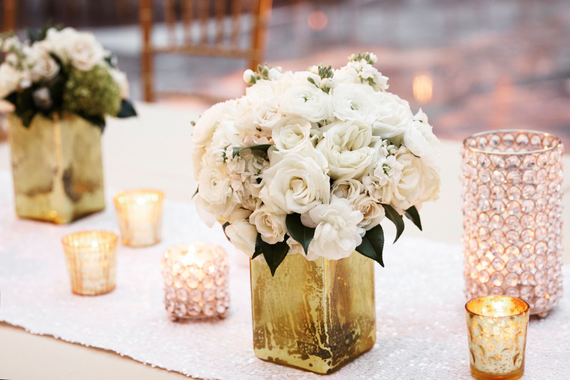 Ivory Flower Arrangement In Gold Vase