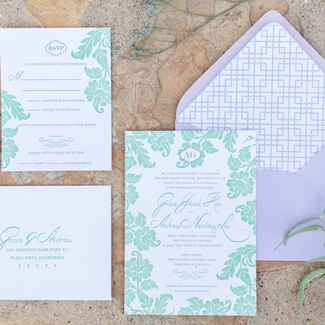 Pastel wedding invitation suite