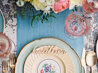 Garden vintage place setting for bridal shower