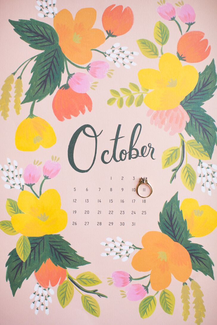 October Calendar With Engagement Ring