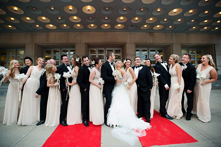 Formal Champagne Bridesmaid Dresses And Black Groomsmen