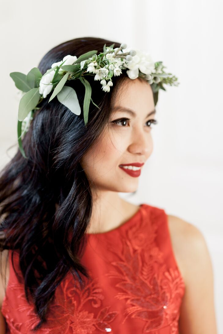 Bride in a Red Dress and Flower Crown