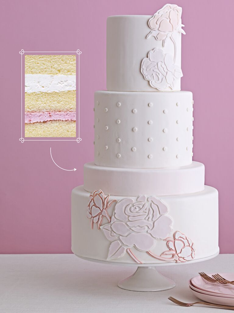 blush cake with floral stencils