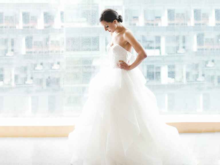 Bride in her ball gown wedding dress