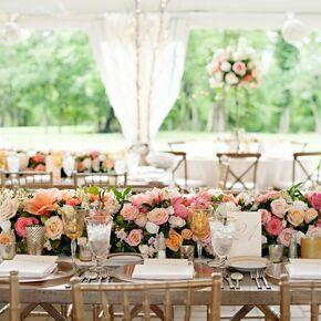 Wedding centerpieces lush pink garden rose and alstroemeria centerpieces junglespirit Gallery