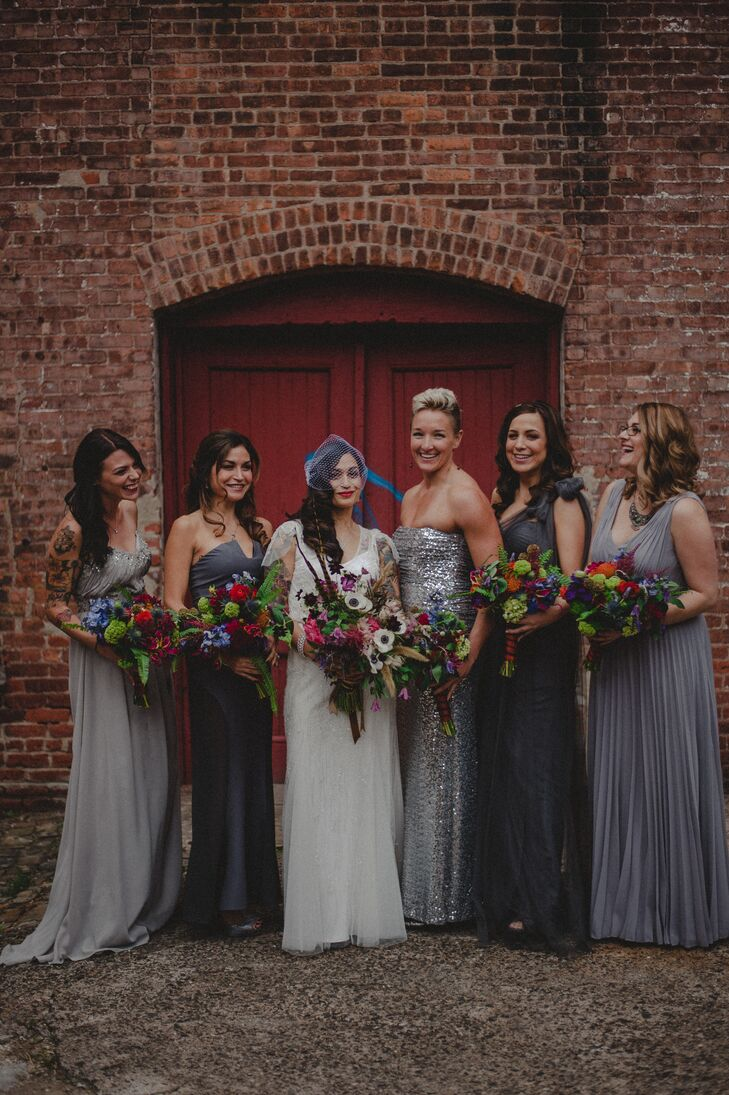 Charcoal and silver long bridesmaid dresses ombrellifo Choice Image