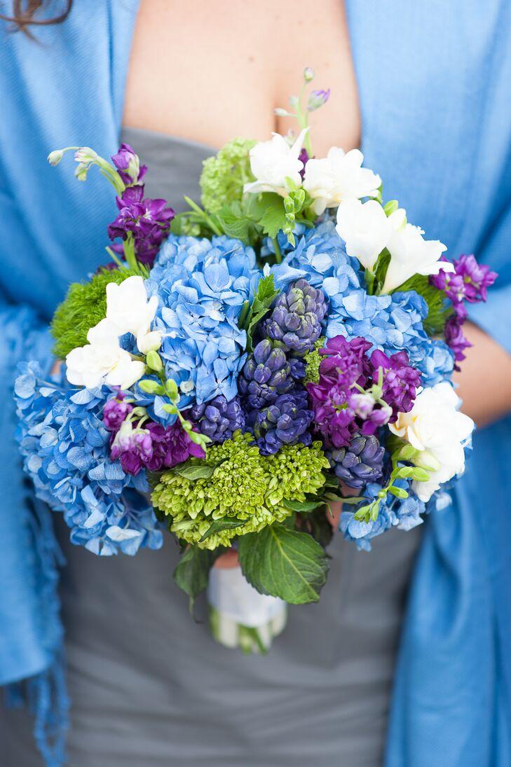 blue purple and white bridesmaid bouquet