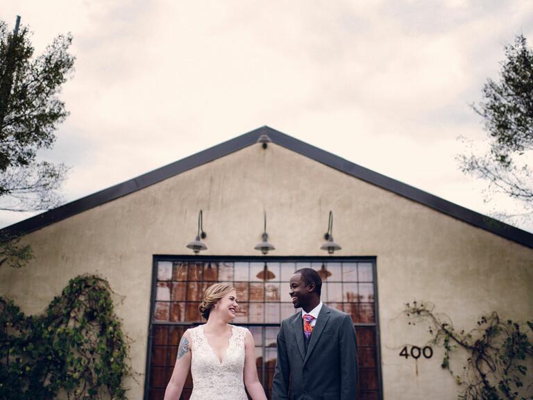 newlyweds standing outside in georgia