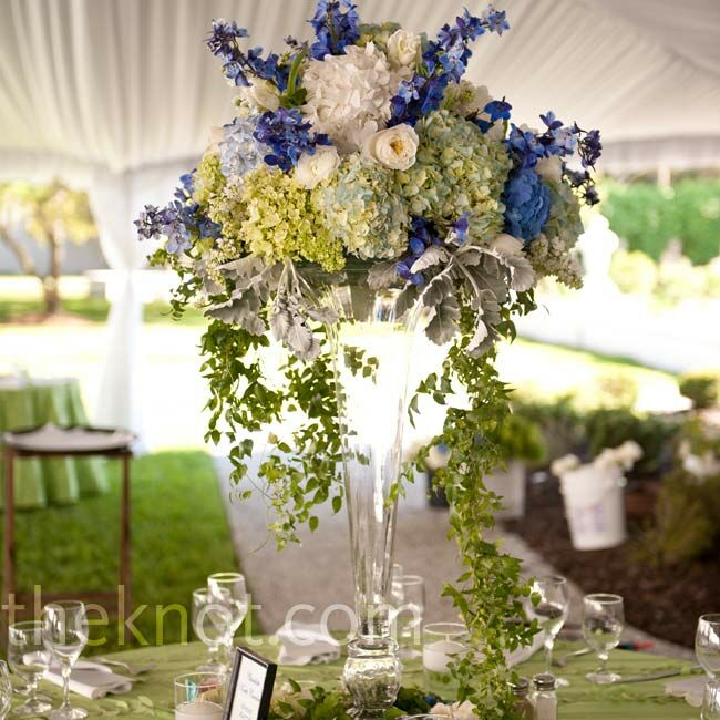 White green and blue centerpieces - Blue and white centerpieces ...