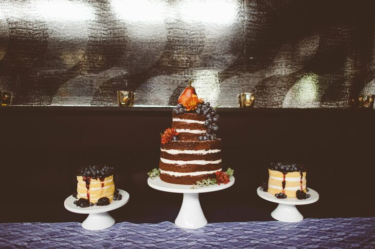The three naked cakes were topped with fresh fruit.