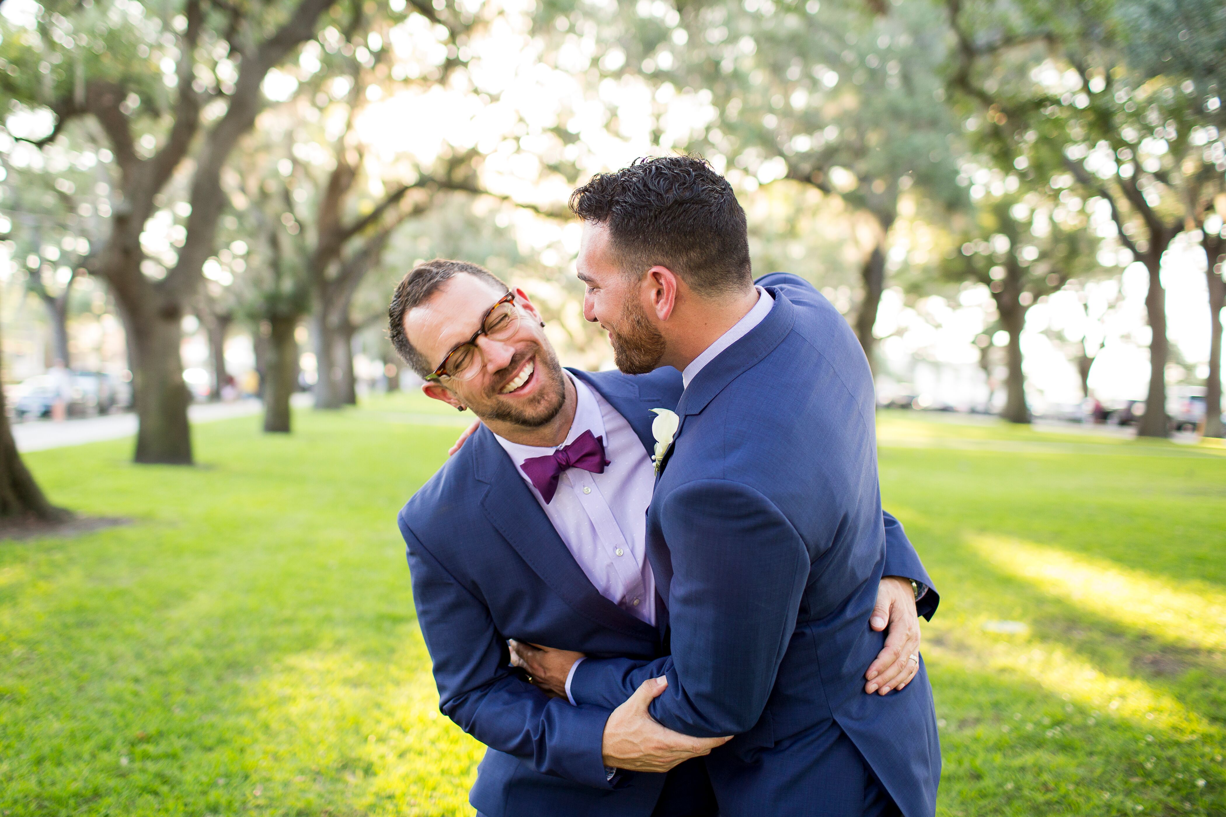 Kimpton Real Weddings: Same-Sex Couple Outside The Kimpton Brice Hotel In Savannah