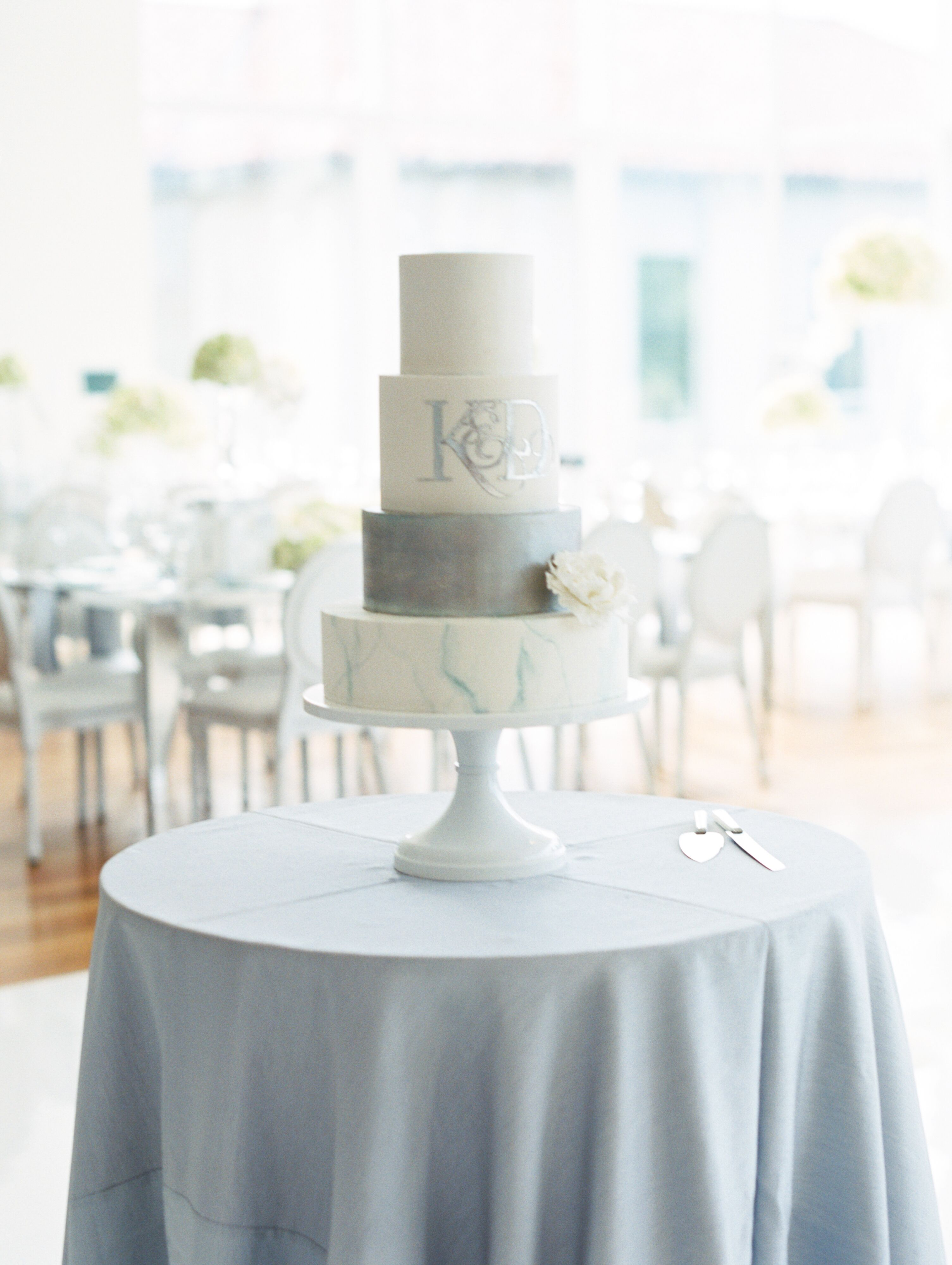 Marbled Fondant Cake With Silver Monogram Decal