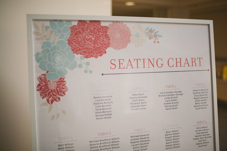 Aqua and coral flowers decorated the large white seating chart sign displayed at Foothills Centennial Centre.