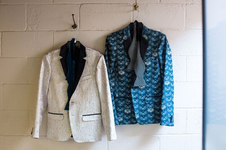 Gold Embroidered and Blue Printed Dinner Jackets