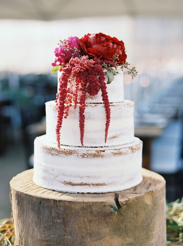 wedding cakes in rustic frosted wedding cake with crimson flowers 24569