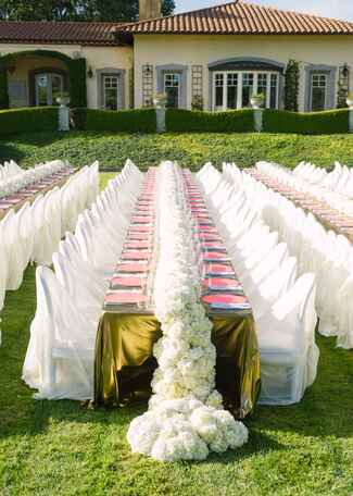 White hydrangea reception table runner