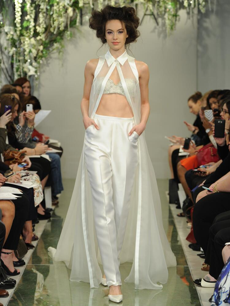 Theia bridal bandea top with sleek pants