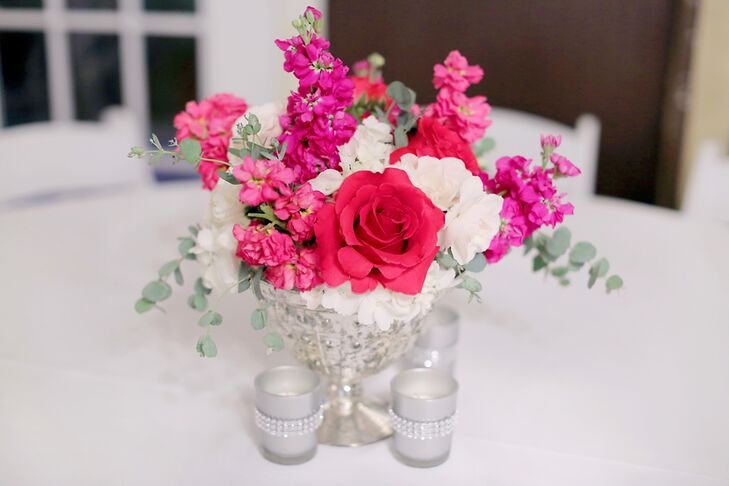 Hot pink and white floral centerpieces mightylinksfo