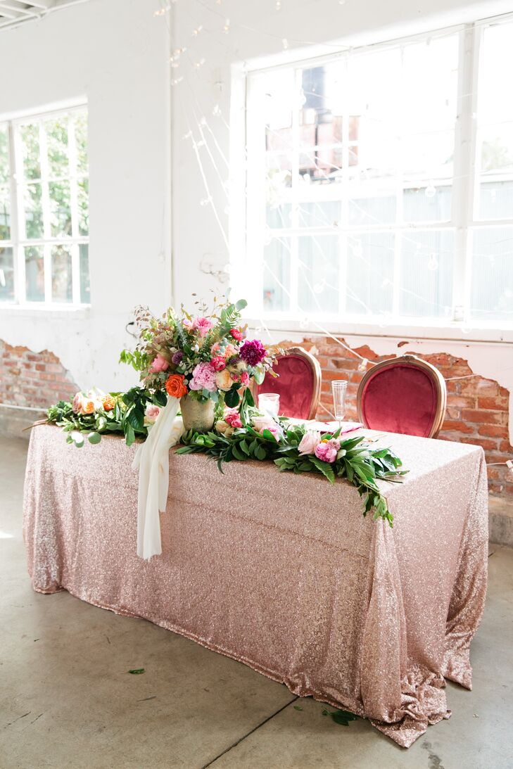 Glamorous Sequin-Studded Sweetheart Table
