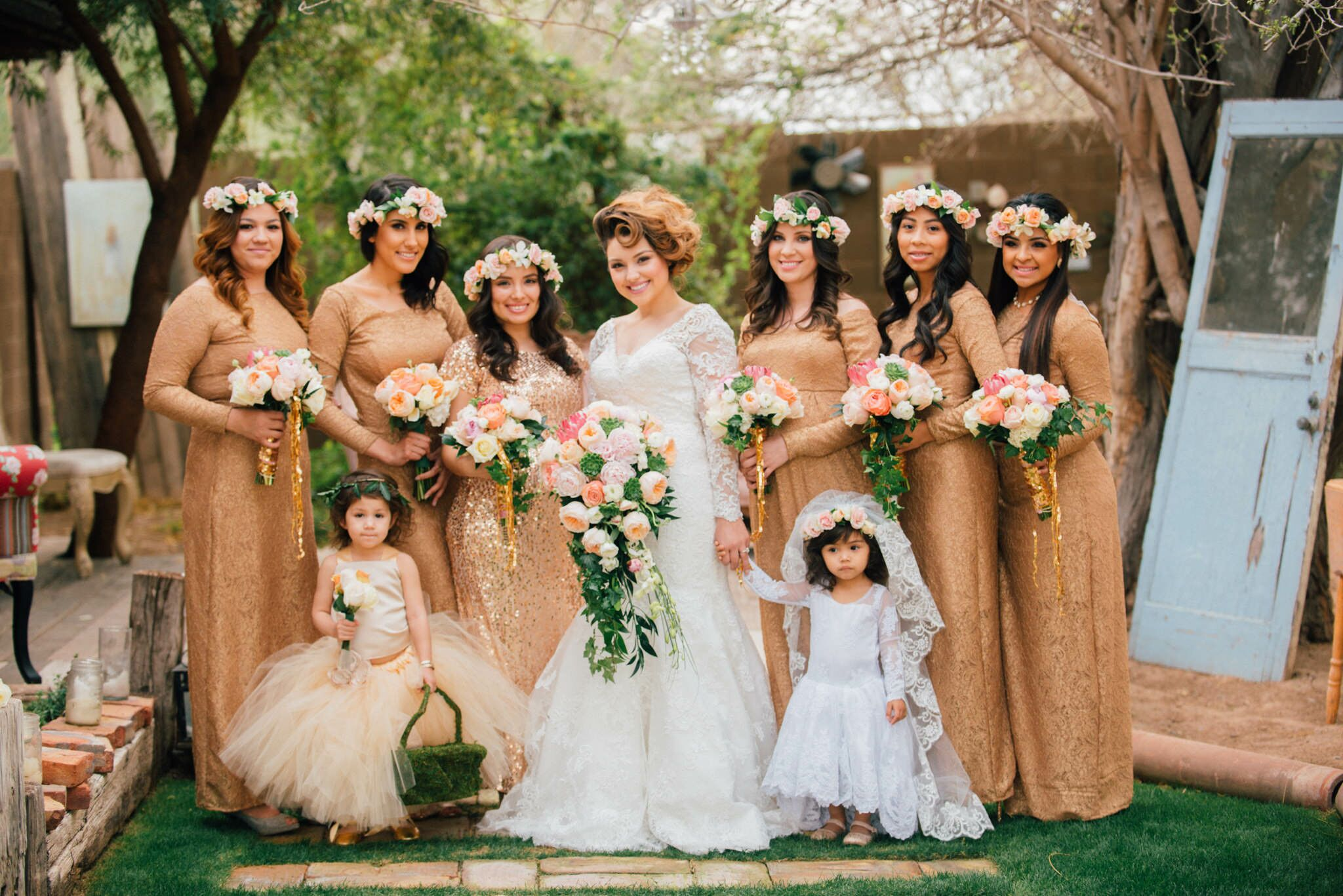 Gold Shimmering Bridesmaids Dresses With Floral Wreaths