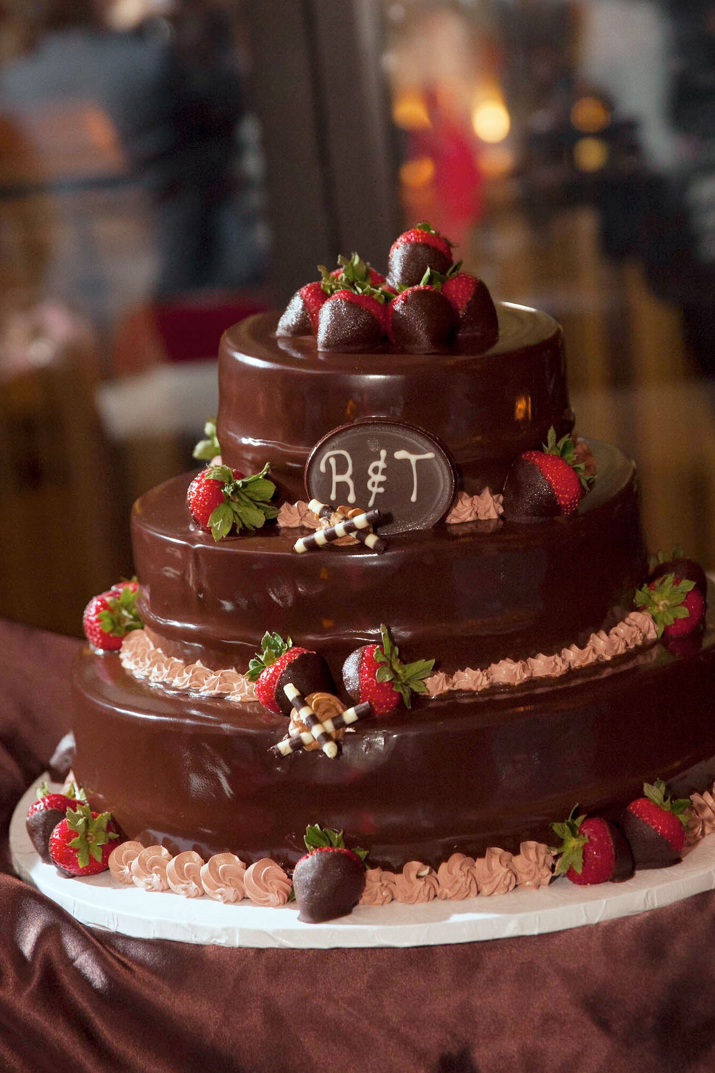 Tiered Chocolate Wedding Cake With Chocolate Covered