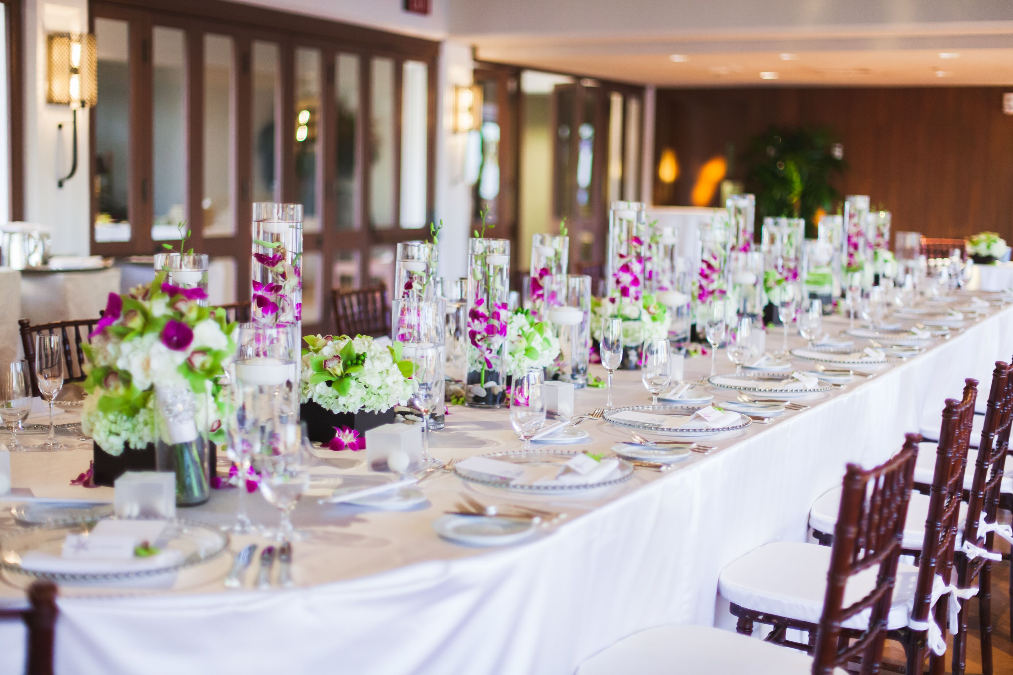 Purple Orchid In Tall Vase Centerpieces