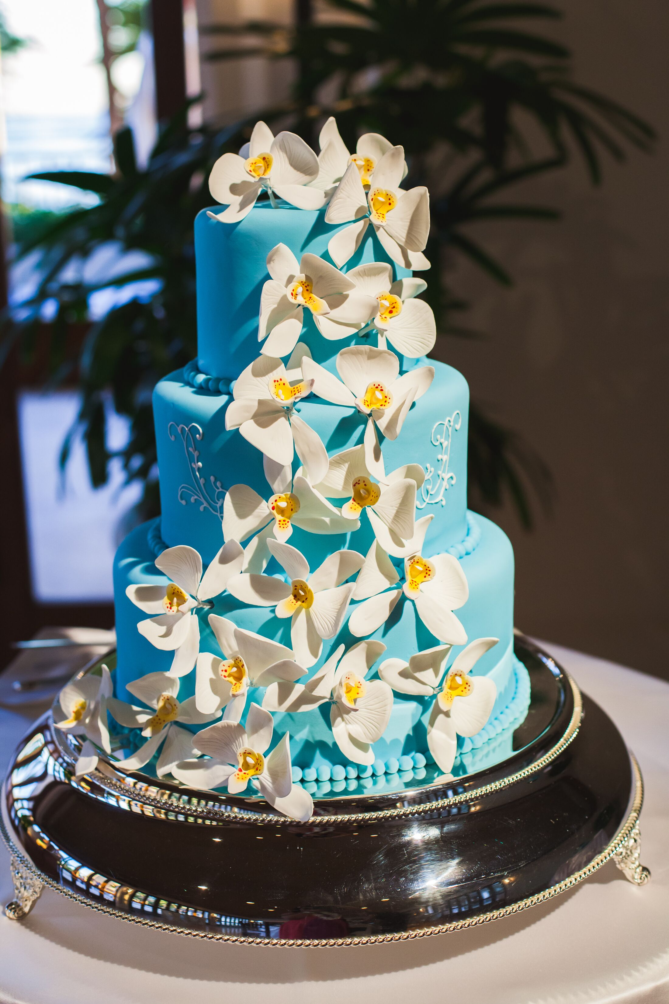 Blue Wedding Cake White Floral Accents
