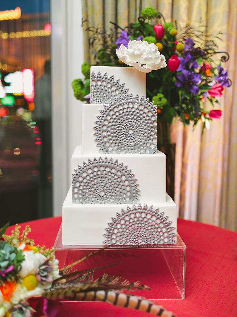Modern white and silver square wedding cake